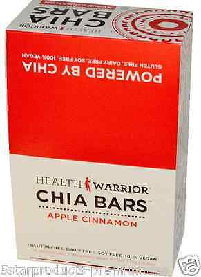 New Health Warrior Inc Chia Bars Apple Cinnamon Nutritional Gluten Free Snacks