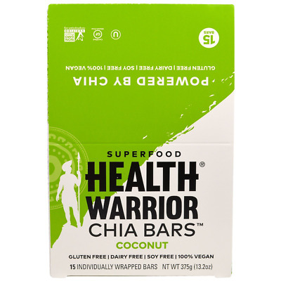 New Health Warrior Inc Chia Bars Coconut Nutritional Gluten Free Snacks Daily