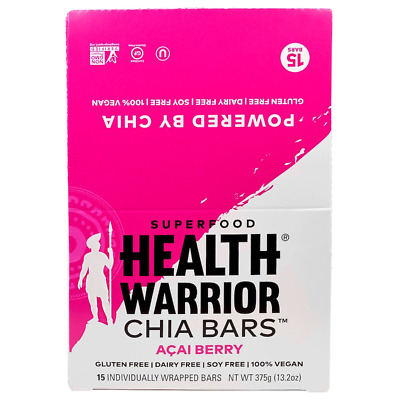 New Health Warrior Inc Chia Bars Acai Berry Nutritional Gluten Free Snacks Daily