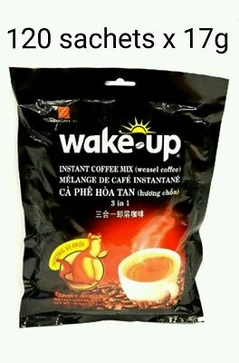 120 sachets x 17g Vietnamese VINACAFE Wake Up 3 in 1 WEASEL Instant Coffee mix