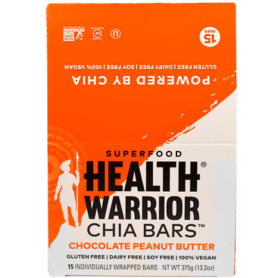 New Health Warrior Inc Chia Bars Peanut Buttter Nutritional Gluten Free Snacks