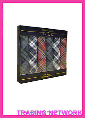 Mens Hankerchief In Boxed Pack Of 6 Pure Cotton Tartan Hankies by Classic gold