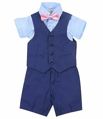 Page Boy Christening Formal Wedding 4pc Blue Short Suit Set From 3 Ms - 6 Yrs