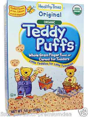 New Healthy Times Organic Teddy Puffs Cookies Original Baby Feeding Daily Meal