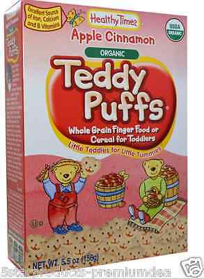New Healthy Times Organic Teddy Puffs Cookies Apple Cinnamon Baby Feeding Daily