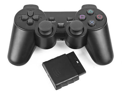 Black Dual Shock Wireless Controller Joypad Gamepad for PS2 PlayStation2