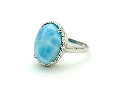 Larimar Beautiful 12X16mm 8.5ct Natural Solid .925 Sterling Silver Ring Size 6
