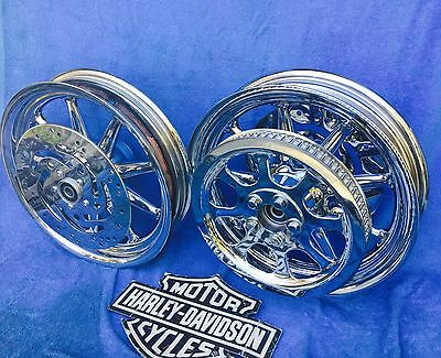 Harley Chrome Wheels Heritage Softail Fat Boy 9 Spoke FLST Check out my Pictures