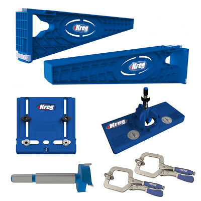 Kreg Slide Mounting Tool, Cabinet Hardware Jig, Hinge Jig & Bit With 2 Face Clam