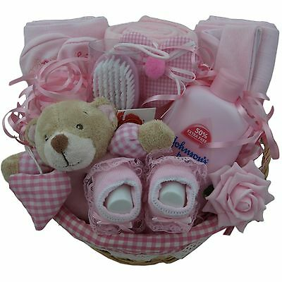 Adorable baby gift basket/hamper girl baby shower nappy cake new baby gift