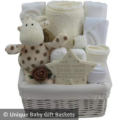 Beautiful baby gift basket/hamper neutral unisex baby shower nappy cake