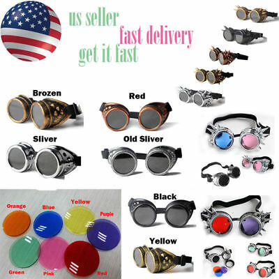 Cosplay Steampunk Goggles Glasses Welding Motocross Cosplay Bike US SELLER #LWJ