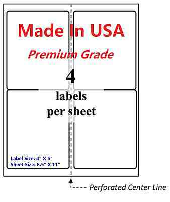 "400 Premium Shipping Labels-4""X5""-Made in USA-Self Adhesive-Blank Labels-8.5x11"