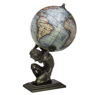 Antique Vintage Style Old World Map Globe on Bronze Atlas Statue with Wood Base