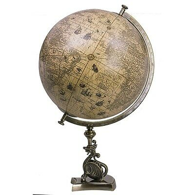 Antique Vintage Style Old World Map Globe on Bronze Dragon Statue with Wood Base