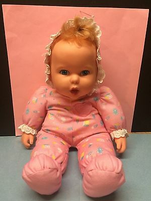 """Adorable Vintage Gerber Baby Doll, Made in 1994, Blonde Hair, Blue Eyes 17"""" Tall"""