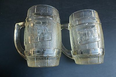 X2 Dads Old Fashioned Root Beer Heavy Clear Indiana Glass Barrel Mug Steins