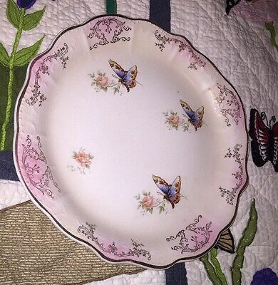 George S Harker Pottery Co. USA Semi Porcelain Butterfly Gold Charger Plate Dish