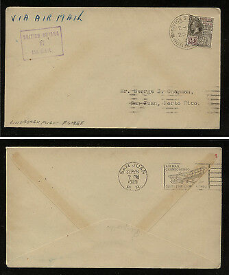 British  Guiana 198  on  Lindbergh flight cover to  San Juan  1929