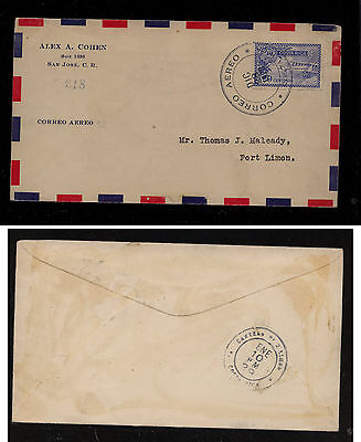 Costa  Rica  airmail  to  Port  Limon  1928       MS0911