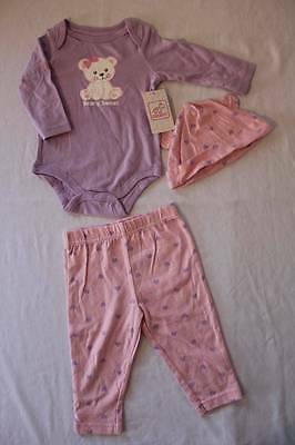 NEW Baby Girls 3 Piece Set 3 - 6 Months Bodysuit Pants Hat Outfit Bear Layette
