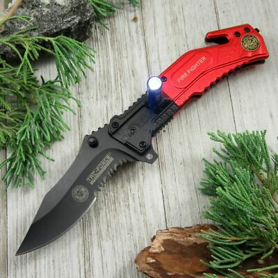 SPRING-ASSIST FOLDING POCKET KNIFE Red Firefighter Rescue Blade LED Light EDC
