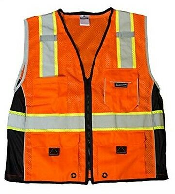 ML Kishigo 1514-L Premium Black Series Heavy Duty Vest Orange Large