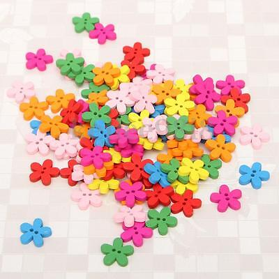 100Pcs Wooden Wood Flower Buttons Scrapbook Sewing Craft X'max Card Decor DIY