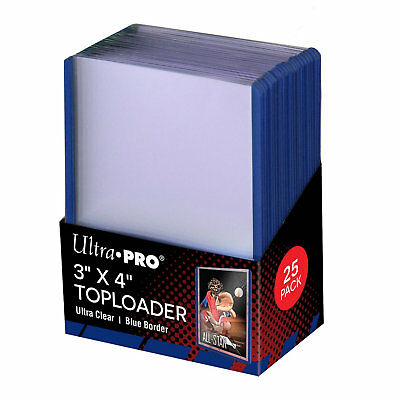 """Ultra Pro 3"""" x 4"""" Top Loader Card Protectors with Blue Border  - Packet of 25"""