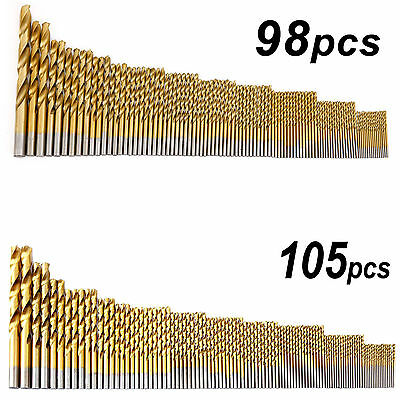 98/105pcs Stainless Metal Cobalt HSS-Co Steel Drill Bit Set 1.5-10mm Titanium