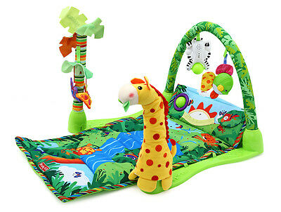 Soft Baby Activity Play Gym Musical Lullaby Mat 3 in 1 Toy Rainforest Zoo crawl