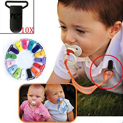 New Baby 10pcs Colored Plastic Suspender Soother Pacifier Holder Dummy Clips