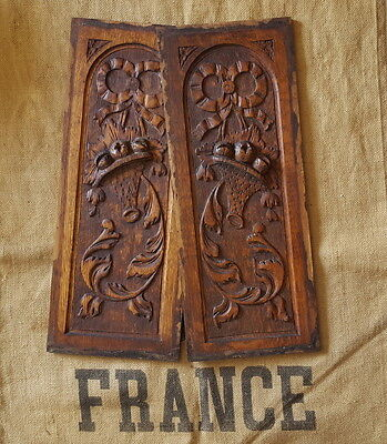 2 ANTIQUE VINTAGE FRENCH HAND CARVED WOOD PANEL PEDIMENT PLAQUE Bow Basket Fruit