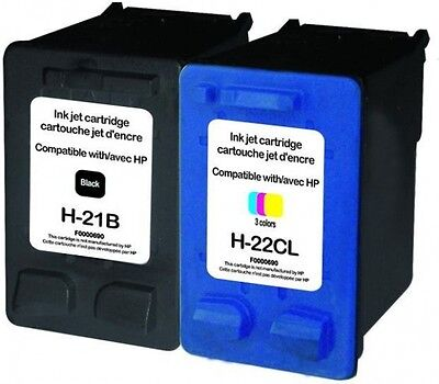 Pack Cartuchos De Tinta Remanufacturados Hp 21 22 C9351A C9352A