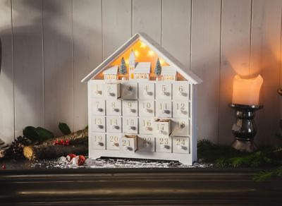 Handcrafted Wooden Advent Calendar with Light Up Winter Village Scene