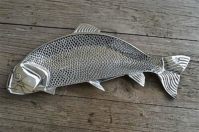 Cool retro styled polished metal salmon platter fish serving dish tray decor
