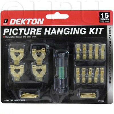 Frame Hooks Brass Nail Level Wire Set Wall Picture Hanging Kit Mirror Photo