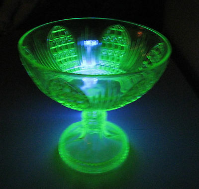 Incredible 1800's  Antique Eapg   Cathedral  Vaseline Glass Footed Bowl  Compote