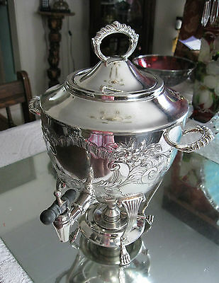 Exquisite Quality Large   Antique Rare  Hand Chased Silver Plate Samovar