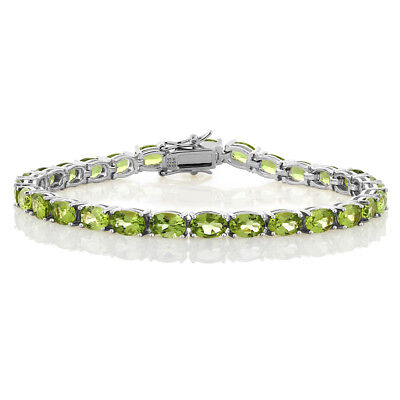 12.00 Cttw 925 Sterling Silver Natural Peridot Tennis Bracelet 7""