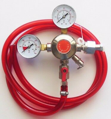 Co2 Double Gauge Beer Regulator w/ shutoff valve + HOSE CLAMP & 5 FT. GAS HOSE