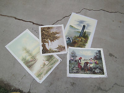Oil painting on canvas lot of 4 landscape