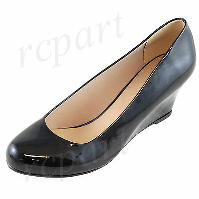 e316fdae8 New women's shoes round close toe high heel wedge black summer casual work