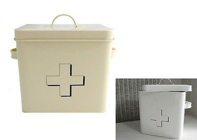 Enamel First Aid Tin Storage Box Vintage Retro With Handle With Cross Home Offic