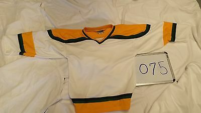 YOUTH Hockey League Blank Team 8 Jersey Set WHITE Gold Shoulder Green Lot 075