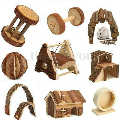 Wooden Soft House Villa Cage Exercise Wood Toys for Hamster Rat Mouse Guinea