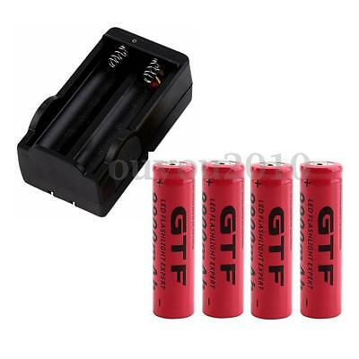 4Pcs 18650 3.7V 9900mAh Rechargeable Li-ion Battery + Charger For Flashlight NF