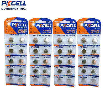 40X AG10 LR1130 389A LR54 PKCELL L1131 189 Button Cell Coin Watch Battery PKCELL