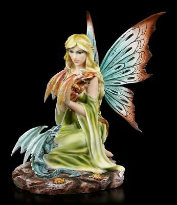 Elves Figurine - Daleone with two colorful Dragon - Fairy Fantasy Decor