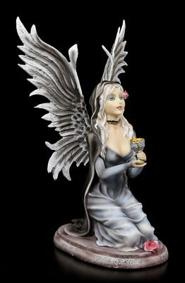 Angel Figure - Grailkeeper kneeling with Chalice and Roses - Gothic Fantasy